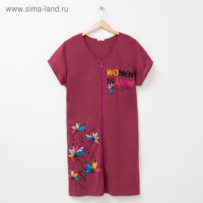 Халат женский на молнии М100 цвет МИКС, р-р 60