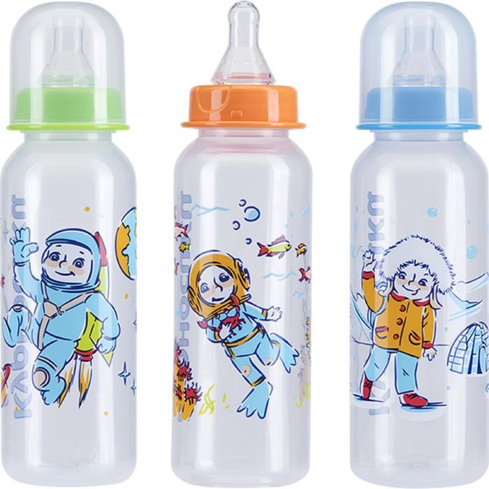 Бутылочка для кормления с силиконовой соской, 250 мл, цвета МИКС