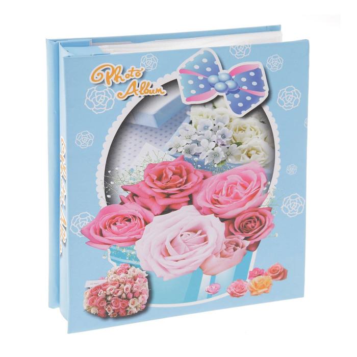 """Фотоальбом на 40 фото 10х15 см """"Корзинка с цветами"""" в коробке МИКС 18х15,5х4 см"""