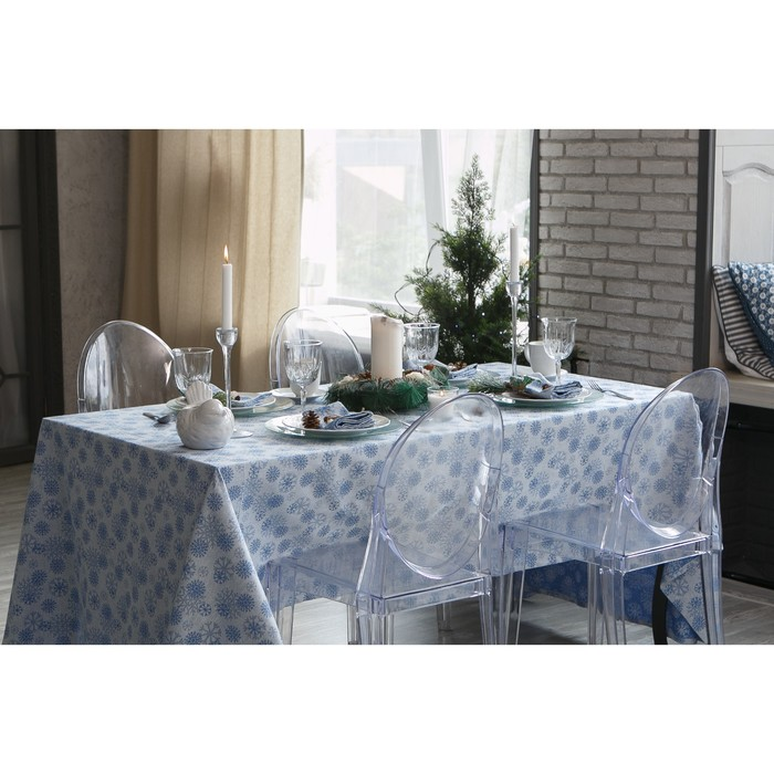 """Столовый набор """"Этель"""" Снежинки синие скатерть 150х150 см, салф. 40х40 см - 6 шт, хл.100%, ВМГО"""