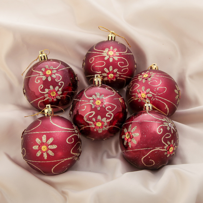 """Новогодние шары """"Цветочные кружева"""" (набор 6 шт.)"""