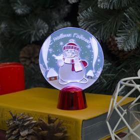 "Подставка с динамикой ""Снеговик"",11.5 см, (батарейки в компл.), 2 LED, БЕЛЫЙ"