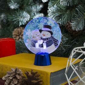 """Подставка с динамикой """"Влюбленные снеговики"""", 11.5 см, (батарейки в компл.), 2 LED, БЕЛЫЙ"""