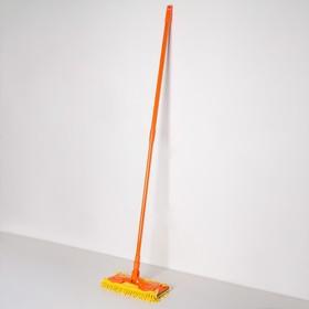 Швабра плоская Доляна, телескопическая стальная ручка 80-128 см, насадка из микрофибры 30×13 см - фото 4647023