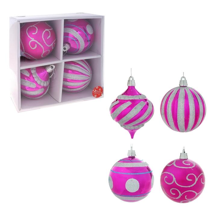 """Новогодние шары """"Розовые гиганты"""" (набор 4 шт.)"""