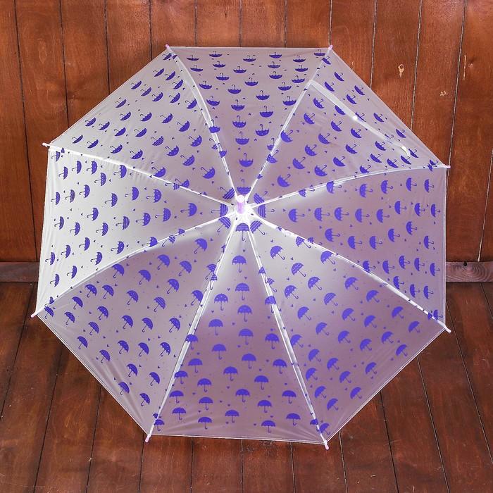 """Зонт детский полуавтоматический """"Зонтики"""", r=44см, цвет прозрачный/фиолетовый"""