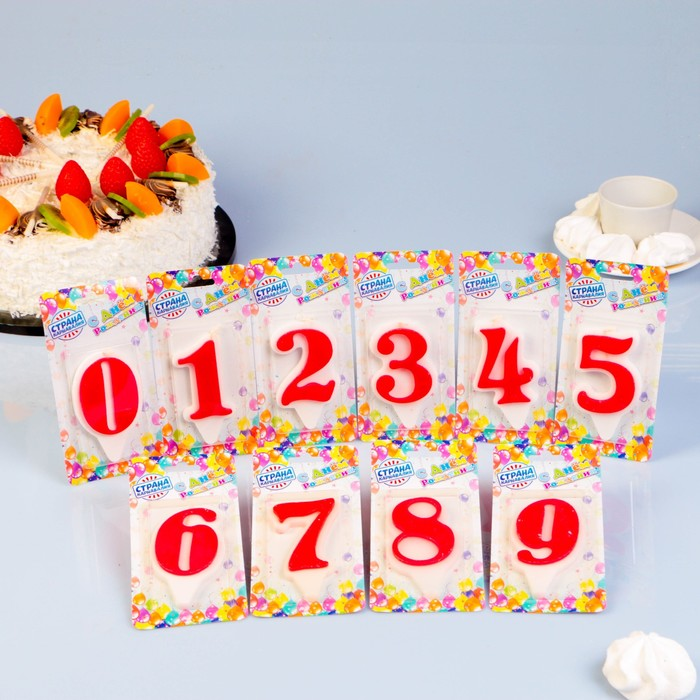 """Шоу-бокс со свечами для торта цифры """"Волна"""" красная, 16штук"""