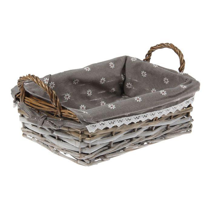 Корзина для хранения плетёная «Маргаритки», цвет серый