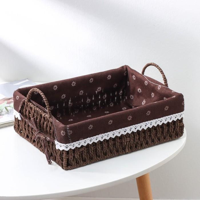 "Basket storage wicker 31х22х10 cm ""Daisies"", color brown"