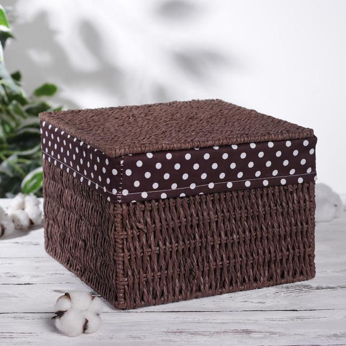 "Storage basket wicker with lid 25х25х18 cm ""Polka dot"""