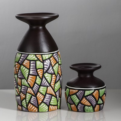 """Набор ваз """"Посейдон"""" 2 шт коричневый микс"""