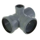 Крестовина канализационная SK-plast, 110 х 110 х 50 мм, 90°, двухплоскостная, правая