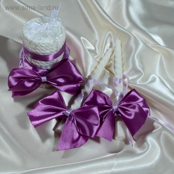 """Украшение для свадебных свечей """"Бант"""", цвет сиреневый"""