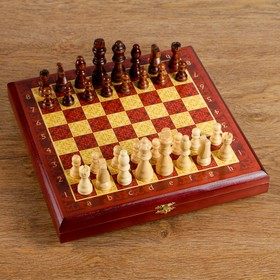 "Chess ""Dark red classics"" (Board, wood 25x25 cm, of a shape tree, king h=8 cm)"