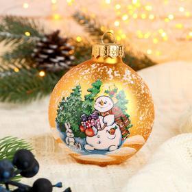 "Шар ""Снеговик с подарком"" 8,5 см  микс"