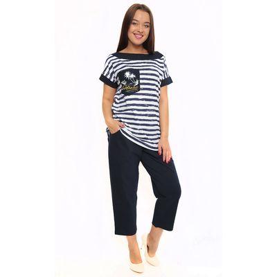 Комплект женский (футболка, бриджи) ТК-406 цвет синий, р-р 54