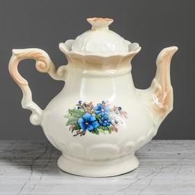 Чайник для заварки 0,6 л 'Ромашка' коричневый, незабудка деколь Ош