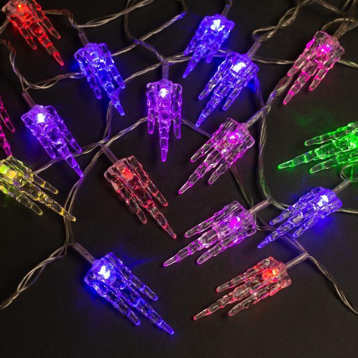 """Гирлянда """"Нить"""" 5 м с насадками """"Льдинка"""", IP20, прозрачная нить, 20 LED, свечение мульти, мигание, 220 В"""