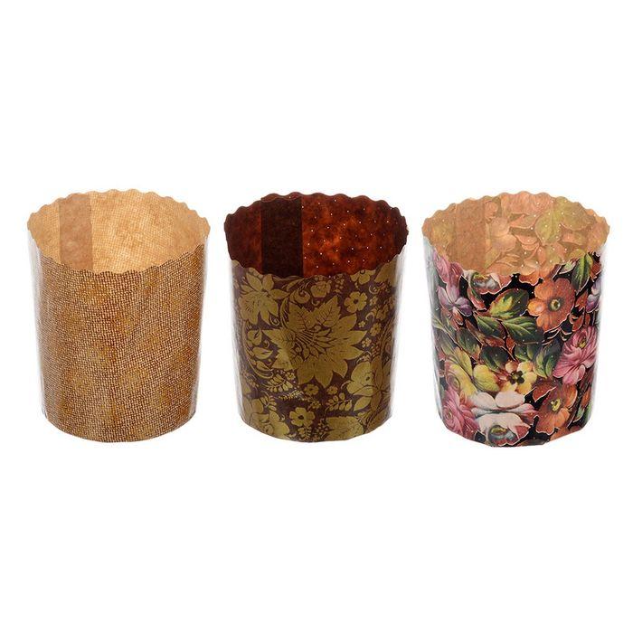 Набор бумажных форм для выпечки куличей «Пасхальный», 3 шт