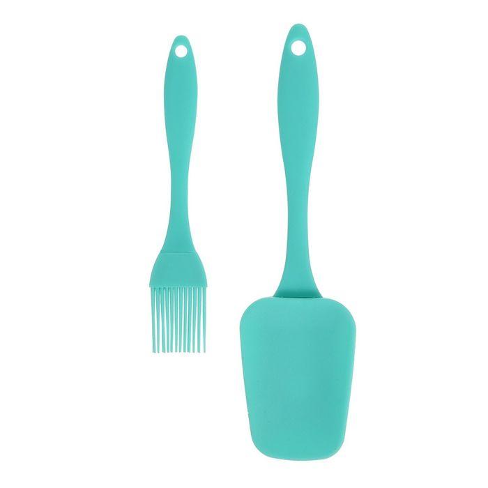 Набор кулинарный, 2 предмета: кисточка 17,5 см, лопатка 23,5 см, цвет МИКС