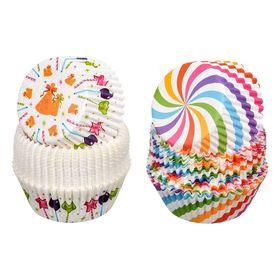 Набор бумажных форм для выпечки кексов «Праздник», d=50 мм, h=30 мм, 50 шт, цвет МИКС
