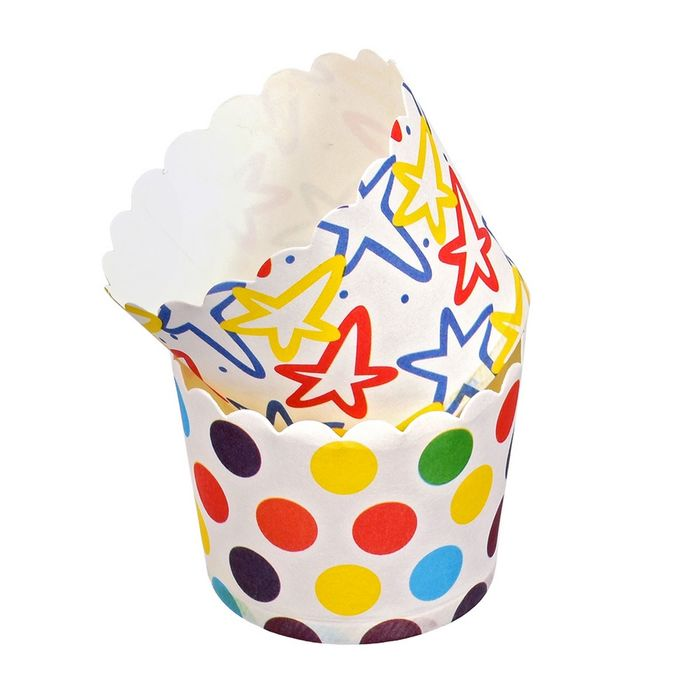 Набор бумажных форм для выпечки кексов «Люкс», d=50 мм, h=45 мм, 24 шт, цвет МИКС