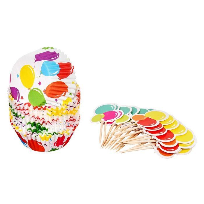 Набор для выпечки и украшения кексов, 24 формочки, 24 шпажки, цвет МИКС