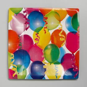 Тарелка бумажная «Шары», квадратная, 21 см