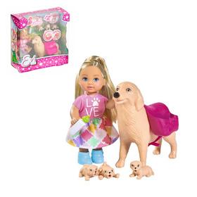 Кукла «Еви с собачкой и щенками», 12 см