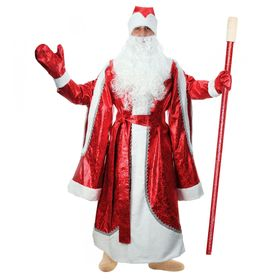 """Карнавальный костюм """"Дед Мороз"""", парча, красная шуба, шапка, варежки, борода, р-р 48-50"""