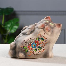 """Копилка """"Кот с рыбой"""", под шамот, 15,5 см, микс"""