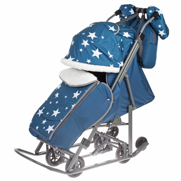 Санки-коляска «Pikate. Звезды», цвет аквамарин