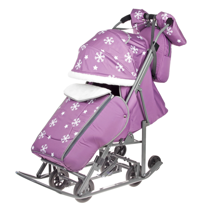 Санки-коляска «Pikate. Снежинки», цвет фиолетовый