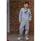 Костюм спортивный для девочки (толстовка, брюки), рост 98-104 см, цвет серый меланж 190- M