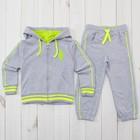 Костюм спортивный для девочки (толстовка, брюки), рост 134-140 см, цвет серый меланж 190- M   279423