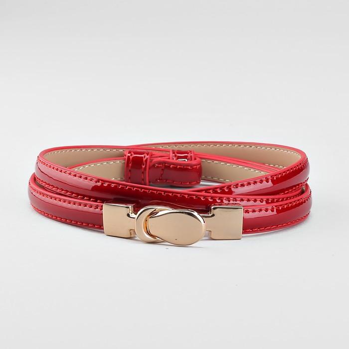Ремень, расширение, пряжка золото, ширина - 0,8 см, цвет красный