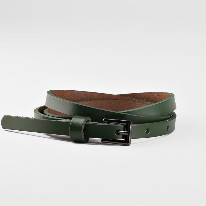 Ремень женский, пряжка тёмный металл, ширина - 0,8 см, цвет зелёный
