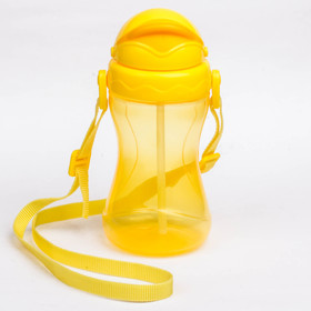 Baby feeding Cup with a straw, on the strap, 420 ml of 9 months., MIX color