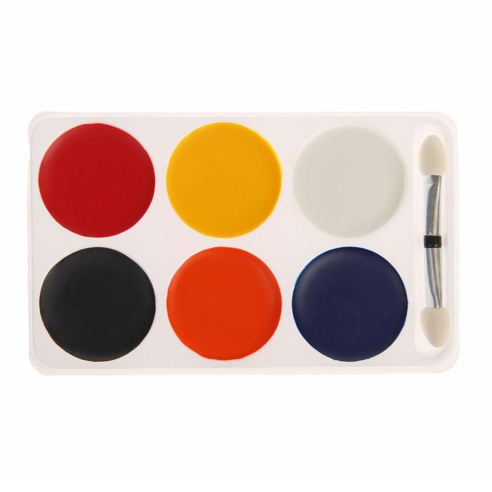 Краски-грим с кистью-аппликатором, 6 цветов