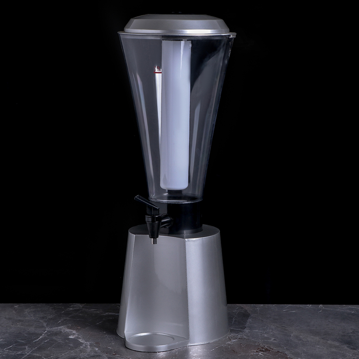 "Башня пивная 3 л ""Металлик"", колба с подсветкой, 2 батарейки"
