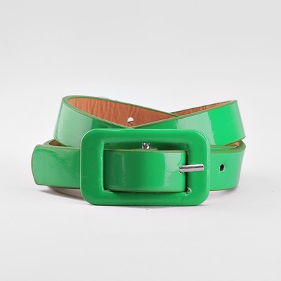 Ремень детский, гладкий, пряжка в цвет ремня, ширина - 1,8 см, цвет зелёный