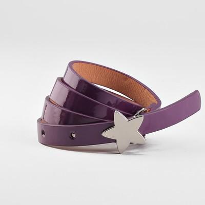 Children's belt, a width of 1.3 cm, smooth, buckle metal, color purple