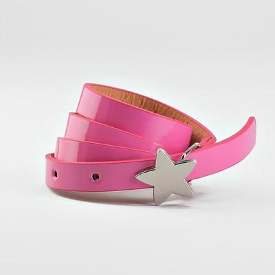 Ремень детский, ширина 1.3 см, гладкий, пряжка металл, цвет розовый