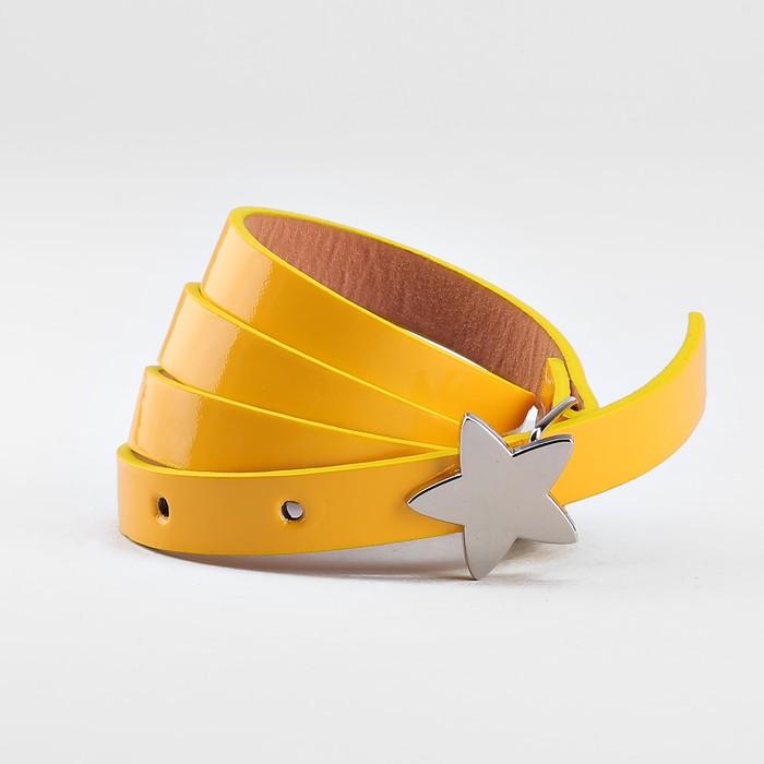 Ремень детский, ширина 1.3 см, гладкий, пряжка металл, цвет жёлтый