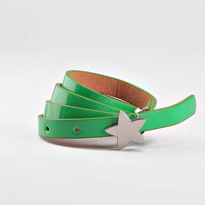 Children's belt, a width of 1.3 cm, smooth, buckle metal, color green