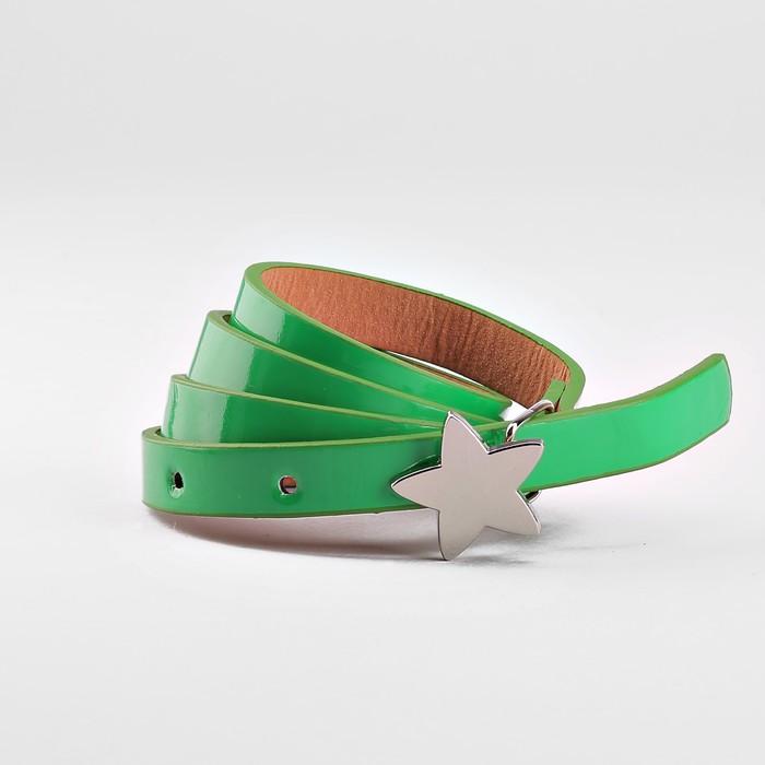 Ремень детский, ширина 1.3 см, гладкий, пряжка металл, цвет зелёный