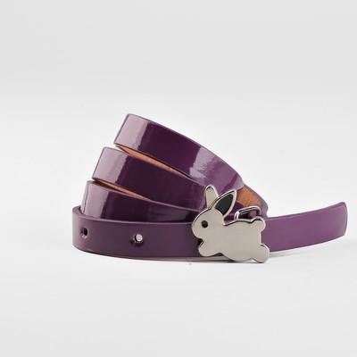 Ремень детский «Кролик», гладкий, пряжка металл, ширина - 1,3 см, цвет фиолетовый