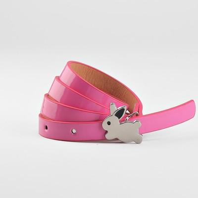 Ремень детский «Кролик», гладкий, пряжка металл, ширина - 1,3 см, цвет малиновый