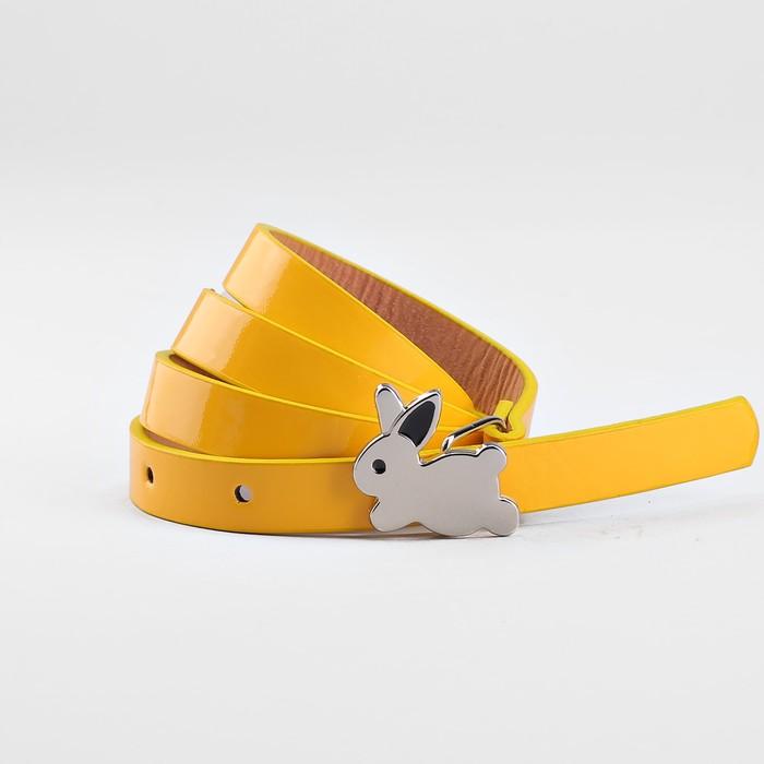 Ремень детский «Кролик», гладкий, пряжка металл, ширина - 1,3 см, цвет жёлтый