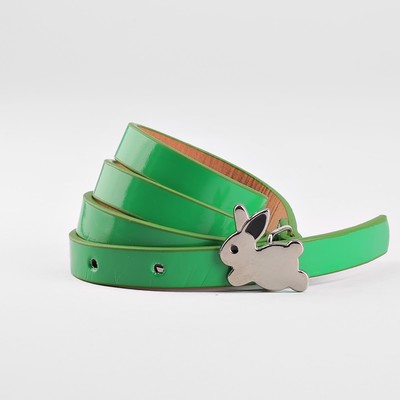 Strap baby Rabbit, smooth, metal buckle, width - 1.3 cm, color green